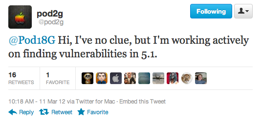 Pod2g is Actively Working on Finding a Jailbreak for iOS 5.1