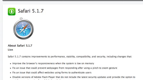 Latest Safari Update Disables Older Versions of Flash