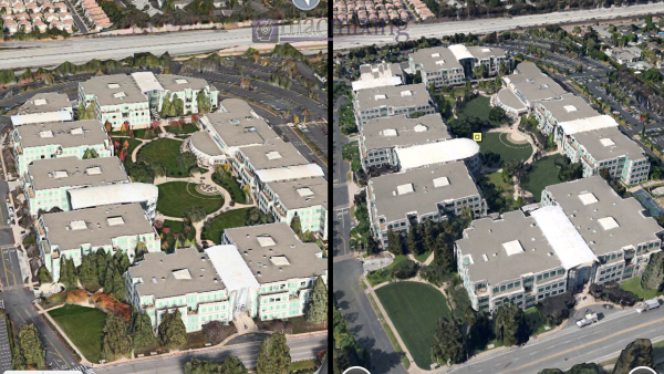 Google Earth's '3D Buildings' VS iOS 6's 'Flyover'