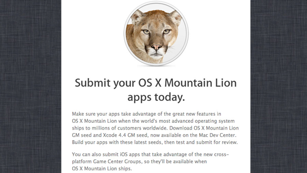 Apple Is Now Accepting OS X Mountain Lion Apps For The Mac App Store
