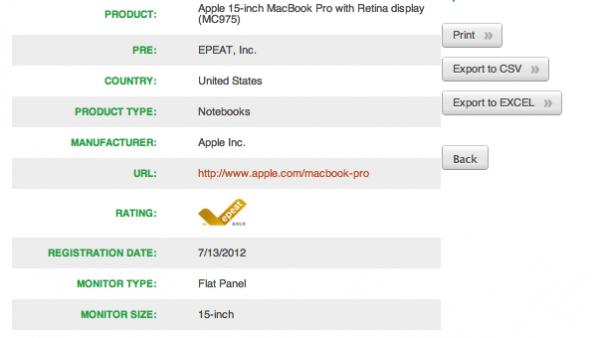 New Retina MacBook Pro Now In EPEAT Registry