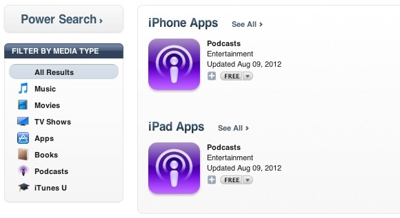 iTunes Glitch Only Shows Apple's Podcast App In Search Results