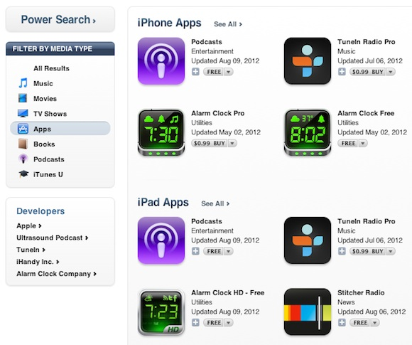 iTunes Glitch Only Shows Apple's Podcast App In Search