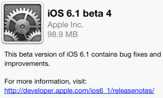 Apple Seeds iOS 6.1 Beta 4 To Developers