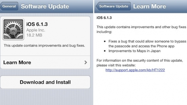 Apple Releases iOS 6.1.3 Fixing Lock Screen Passcode Vulnerability